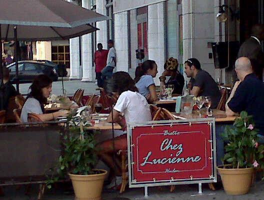 Sidewalk dining on Lenox Avenue