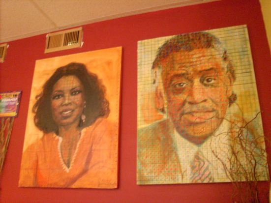 Art on display at TJ's Bakery in Harlem (Photo by D. Bell)