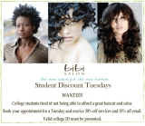 Student discount Tuesdays at Bibi Salon