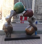 Peter Woytuk sculpture exhibit along Broadway.